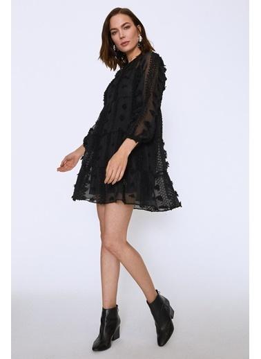 Quzu Dantelli Mini Elbise Siyah